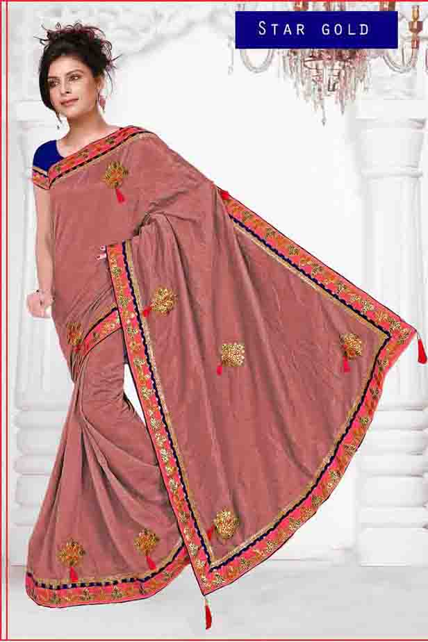 WOMEN SAREE WITH BLOUSE-PEACH-DF STAR GOLD 01