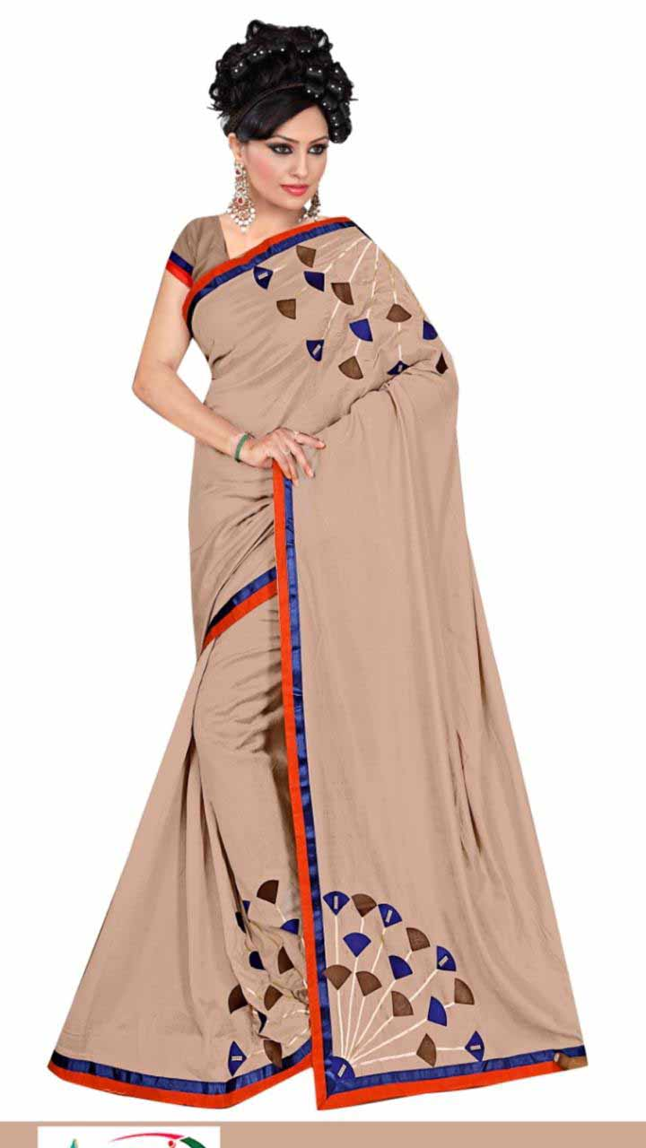 WOMEN SAREE WITH BLOUSE-BROWN-DF STAR PLUS