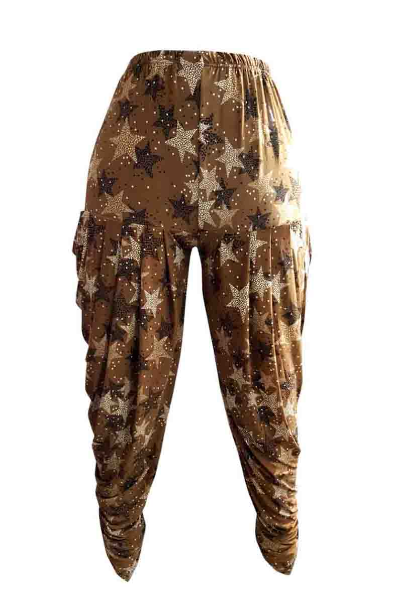 SUF DHOTI PRINT 01-BROWN STAR WOMEN DHOTI PALAZO