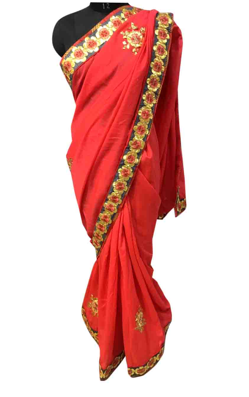 WOMEN SAREE WITH BLOUSE-DARK PINK-DF SUN FLOWER 01