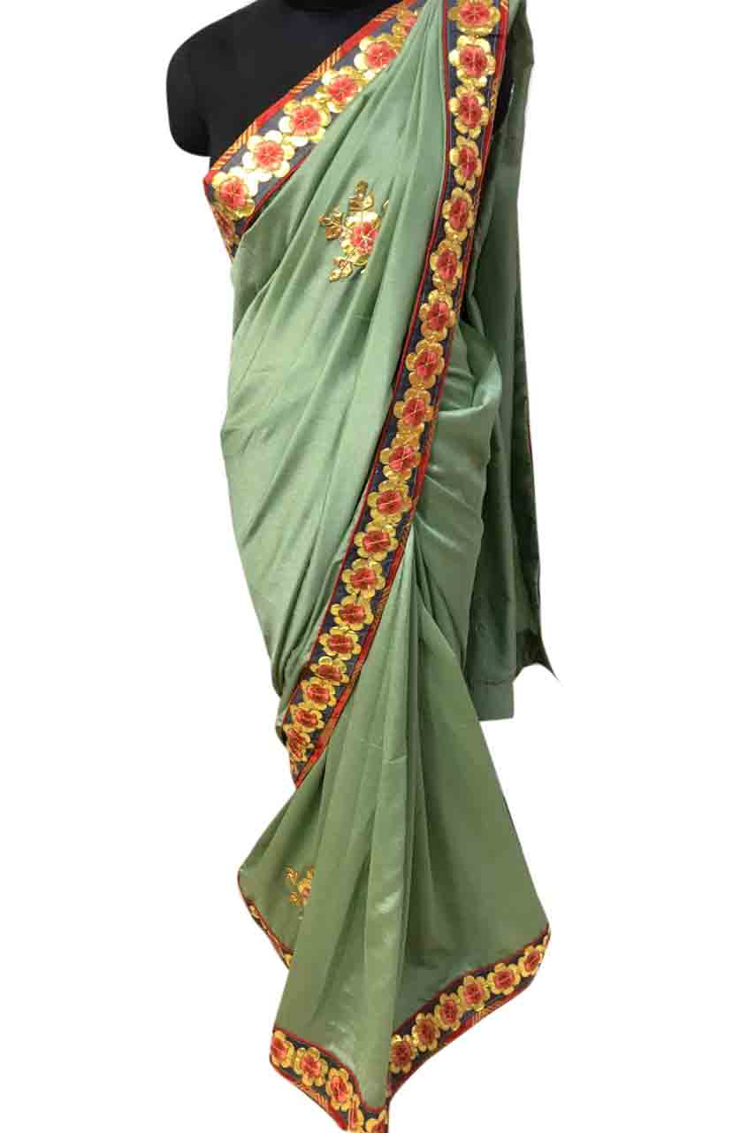 WOMEN SAREE WITH BLOUSE-PISTA GREEN-DF SUN FLOWER 01