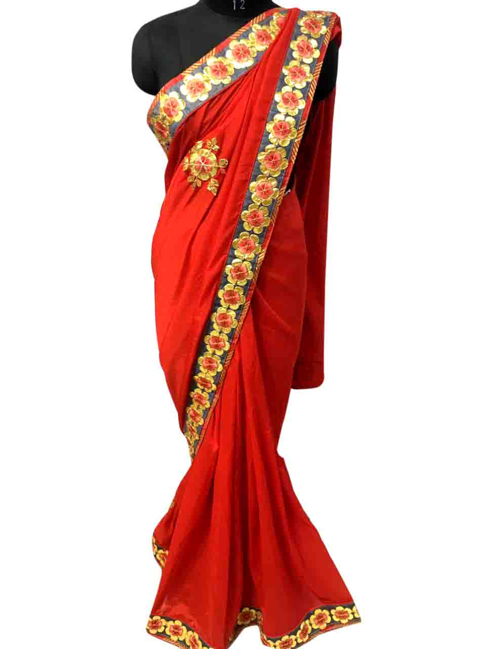WOMEN SAREE WITH BLOUSE-RED-DF SUN FLOWER 01