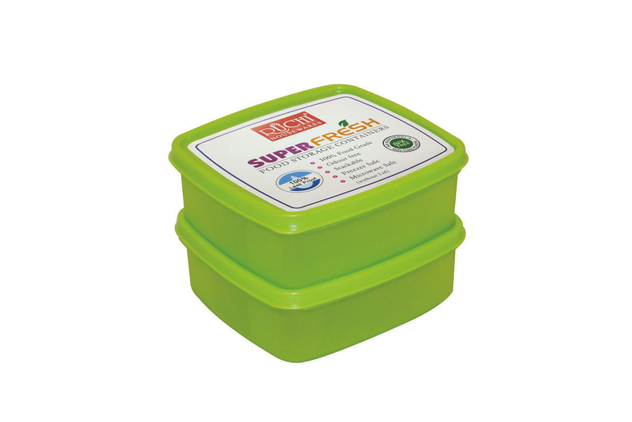 Square Food Container 550 Ml(set Of 2) SHADE-GREEN