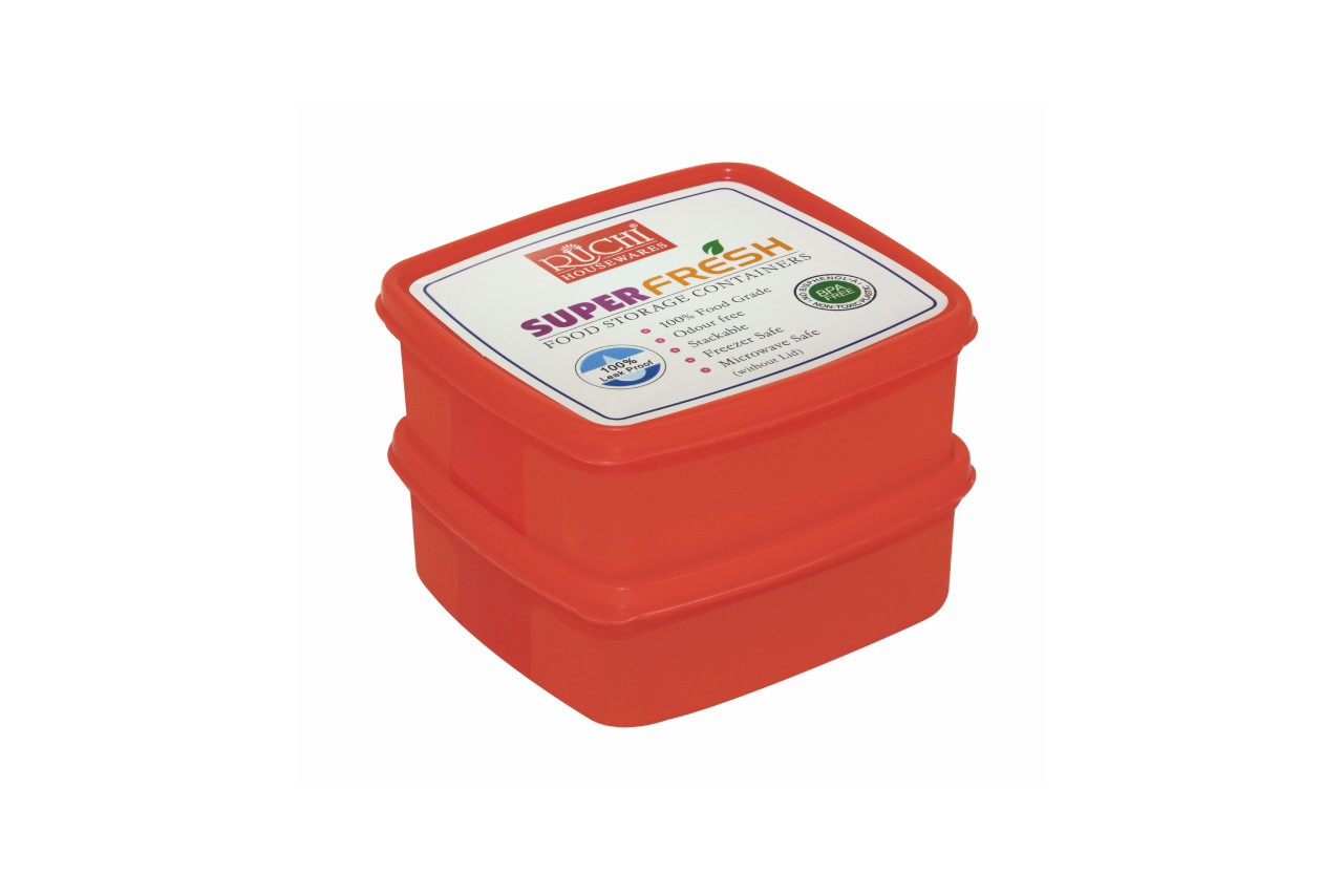 Square Food Container 550 Ml(set Of 2) SHADE-RED