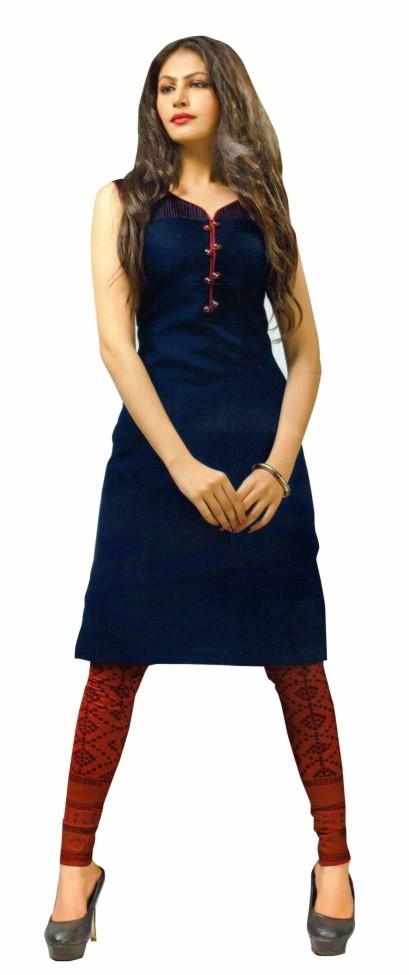 SanFash Barbie Girl - 1002 Navy/Red Stitched Kurti