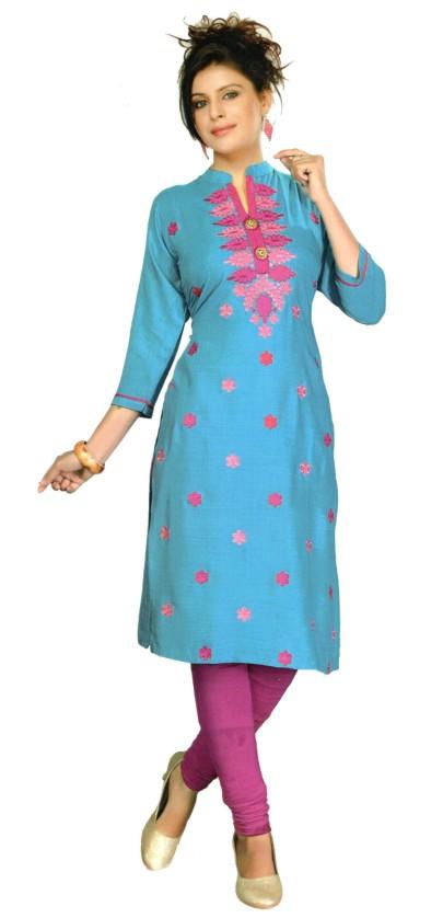 SanFash RANGOLI - 1002 Sky Blue Stitched Kurti