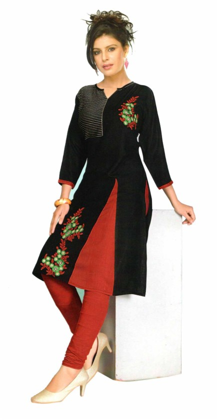 SanFash RANGOLI - 1007 Black Stitched Kurti