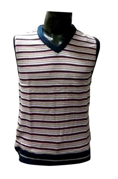 Sl V Neck Linning  - Beige Sleeveless Sweater