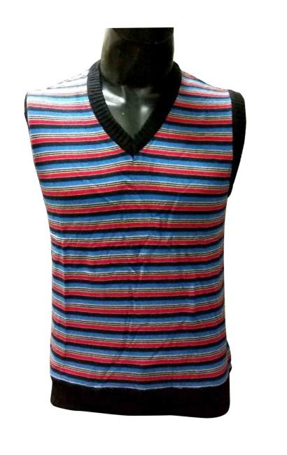 Sl V Neck Linning  - Blue Sleeveless Sweater