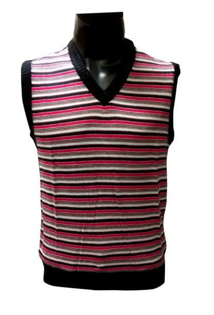 Sl V Neck Linning  - Hot Pink Sleeveless Sweater