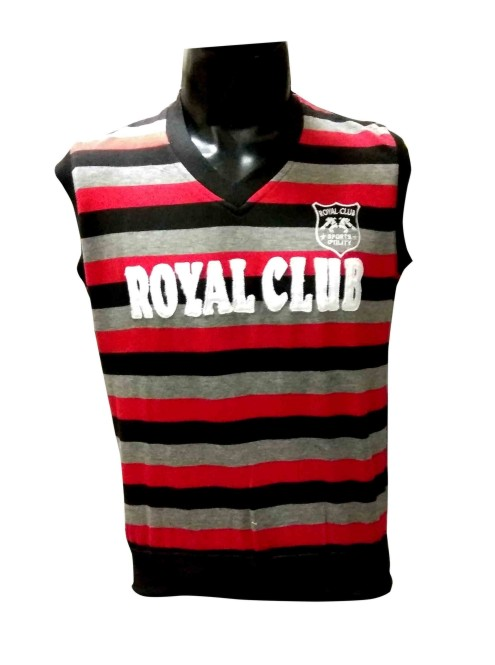 Sl V Neck Royal Club - Red Sleeveless Sweater