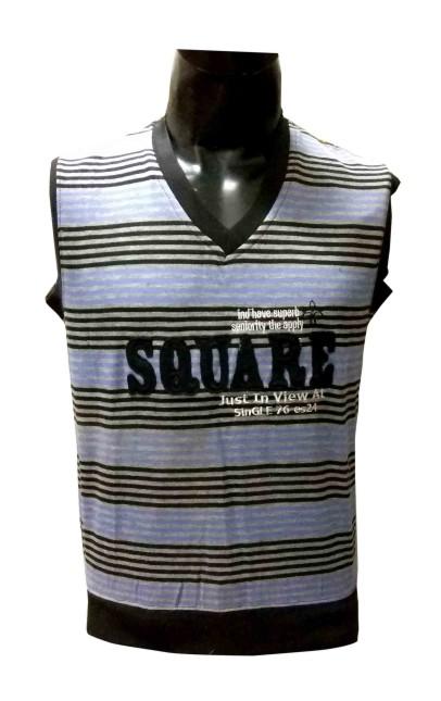 Sl V Neck Square - Light Blue Sleeveless Sweater