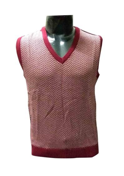 Sl V Neck Zig Zag - Mahroon Sleeveless Sweater
