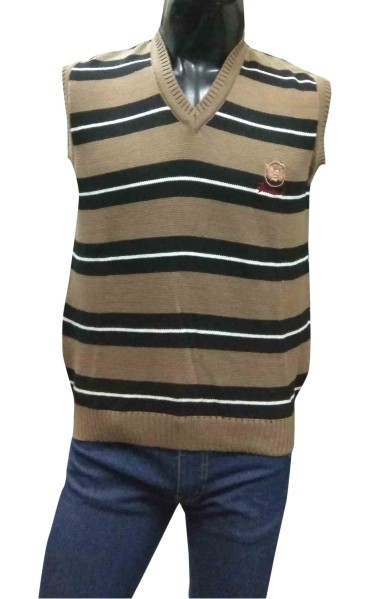 Sleeveless  Vneck Logo S BROWN Sweaters