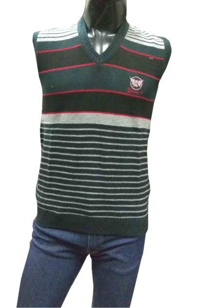 Sleeveless  Vneck Logo S GRAY/ Black Sweaters