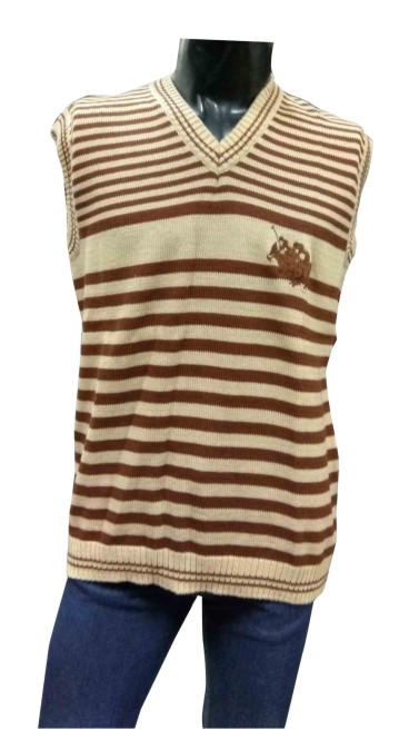 Sleeveless V Neck POLO BROWN Sweaters