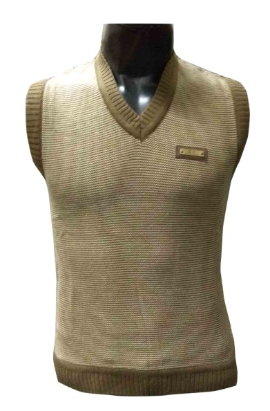 Slv Neck Gk Logo  - Brown Sleeveless Sweater