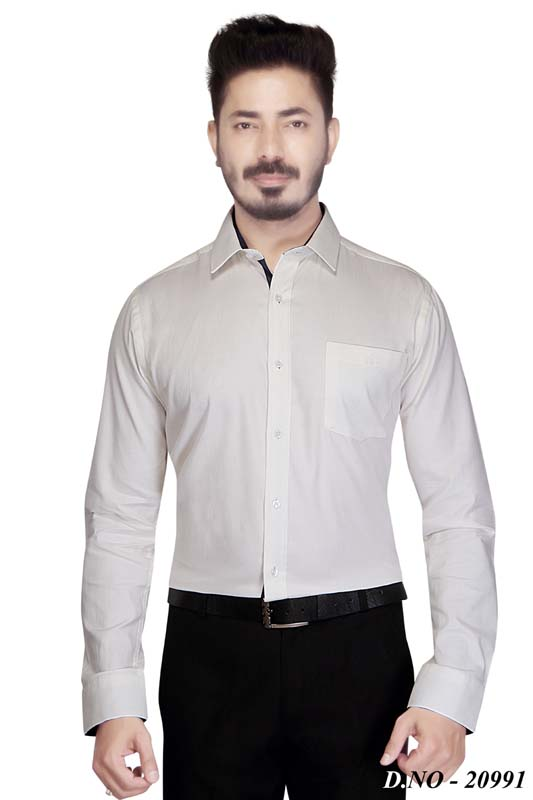 TA 014-WHITE PRINT FORMAL SHIRT