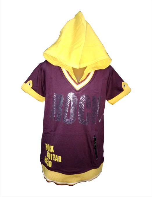 THE ROCK - Maroon Hood T-shirt For Kids