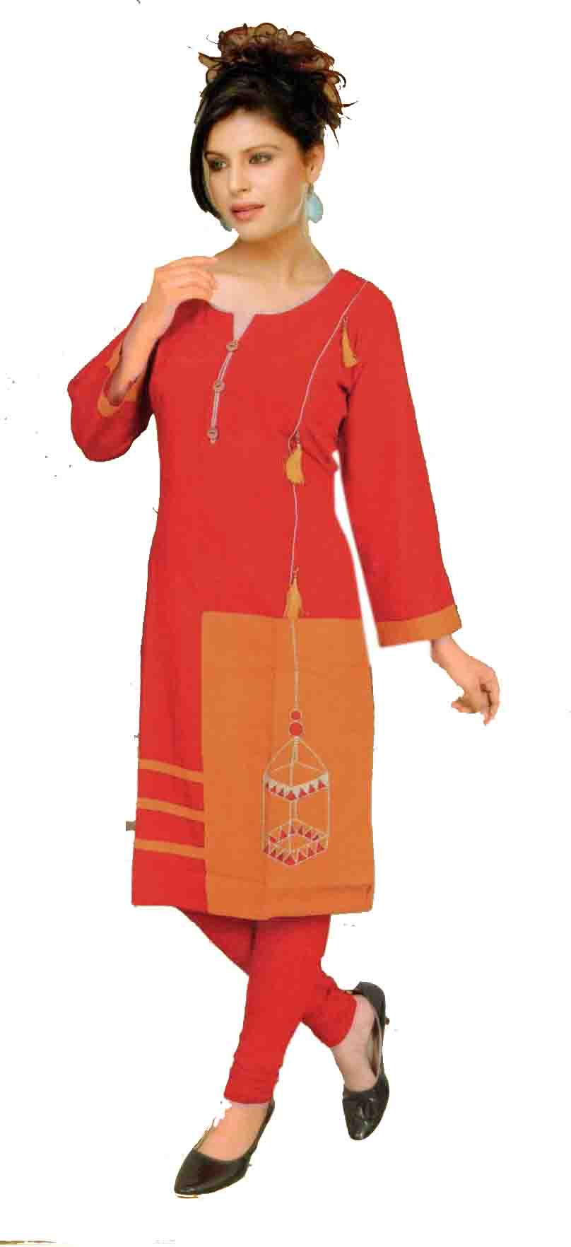 SKT TIPSY TOPSY 02-RED COTTON LINEN KURTI