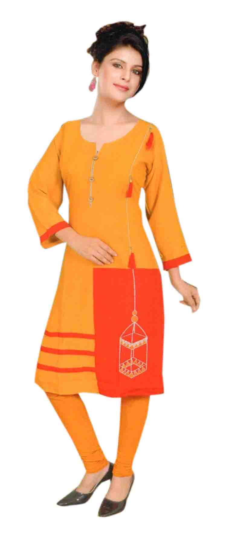 SKT TIPSY TOPSY 02-YELLOW COTTON LINEN KURTI