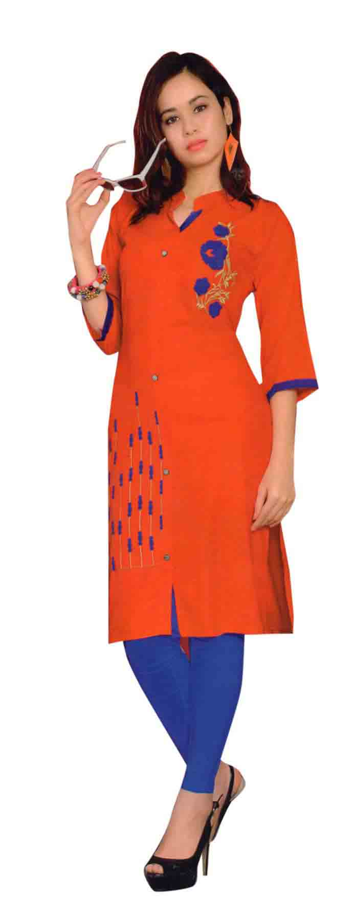 SMC TWINKLE 01-D NO 10 FULL SLEEEVES RAYON KURTI