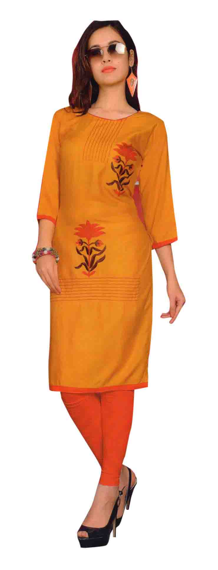 SMC TWINKLE 01-D NO 2 FULL SLEEEVES RAYON KURTI