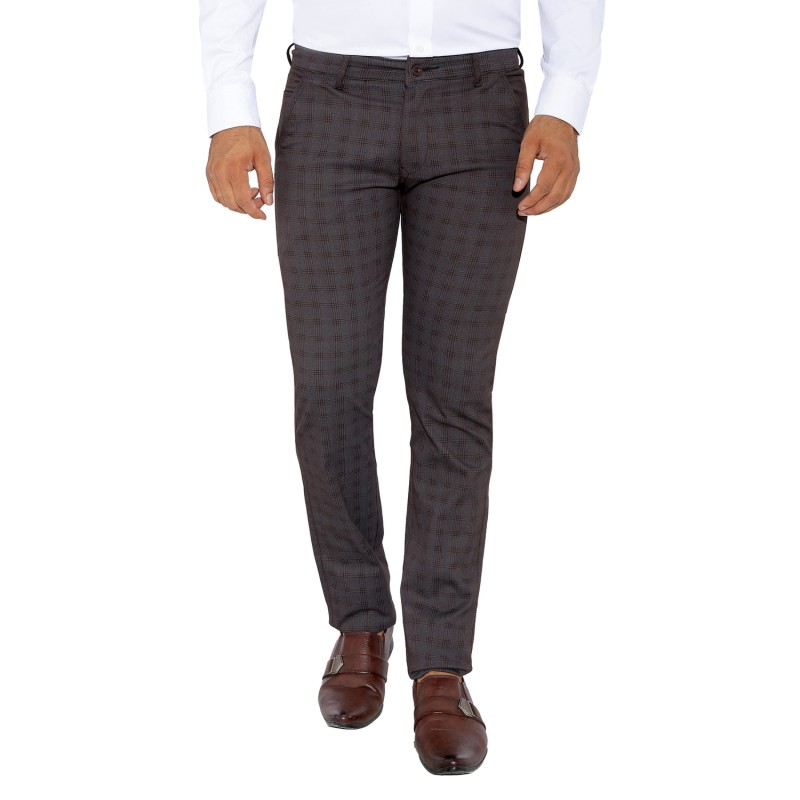 UTD 8 - Coffee Checks Cotton Casual Trousers