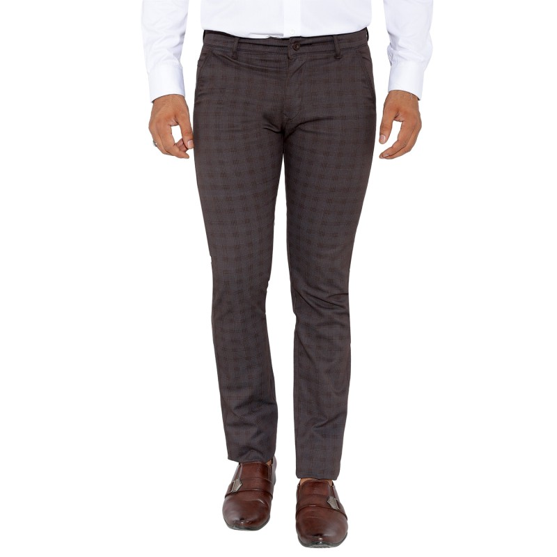 UTD 9 - Coffee Checks Cotton Casual Trousers