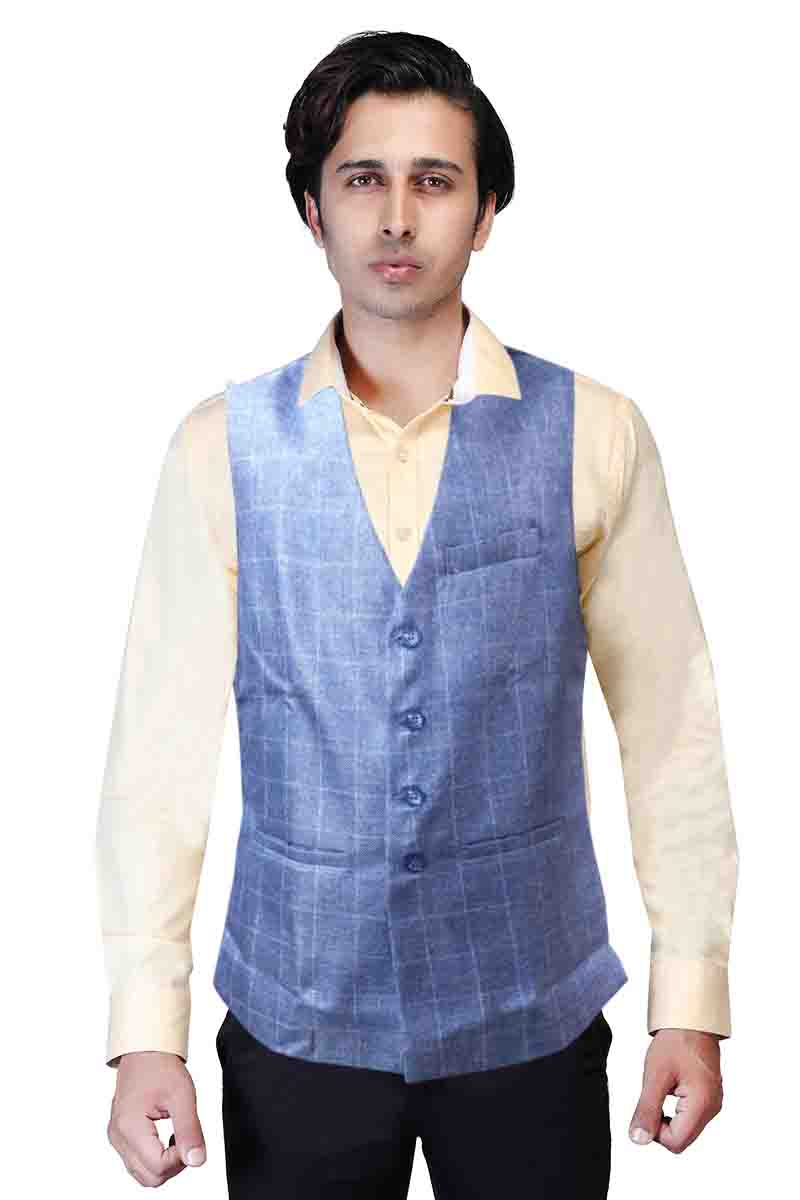 MOJ V NECK 01-LIGHT BLUE CHECKS MODI JACKET