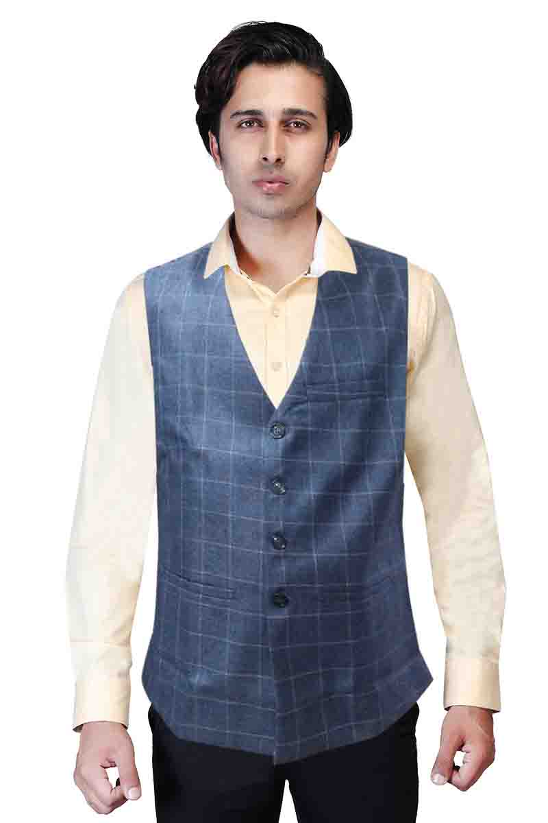 MOJ V NECK 01-DARK BLUE CHECKS MODI JACKET