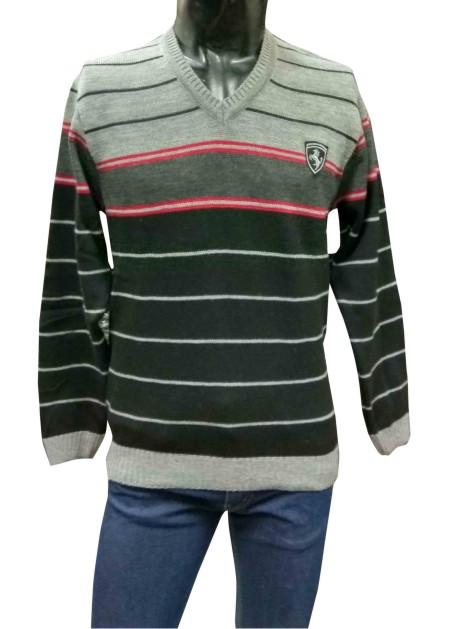 V NECK HORSE GRAY / RED LINE COLOUR PULLOVER