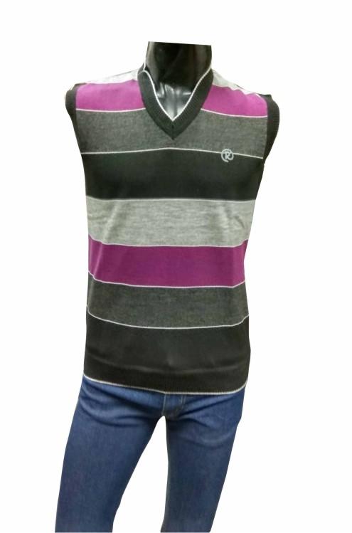 Sleeveless V Neck  Logo R Gray / Purple Sweaters