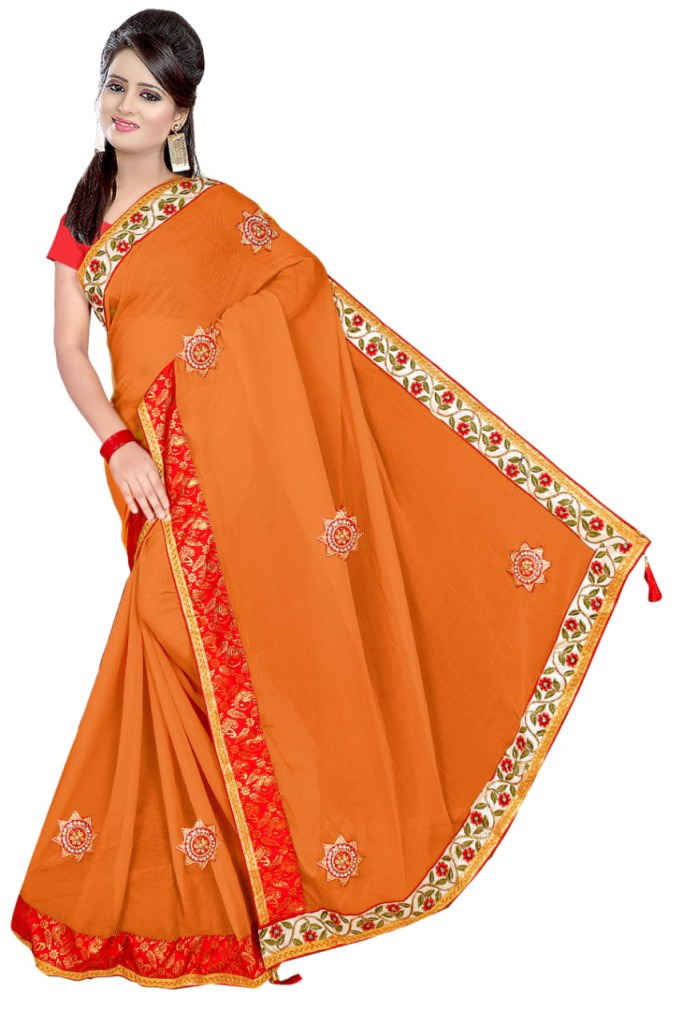 WOMEN SAREE WITH BLOUSE-PEACH-DF VIDAI 2019