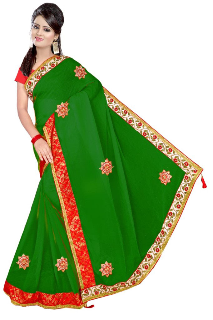 WOMEN SAREE WITH BLOUSE-GREEN-DF VIDAI 2019