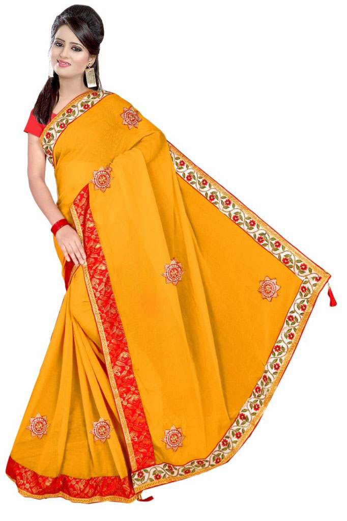 WOMEN SAREE WITH BLOUSE-YELLOW-DF VIDAI 2019