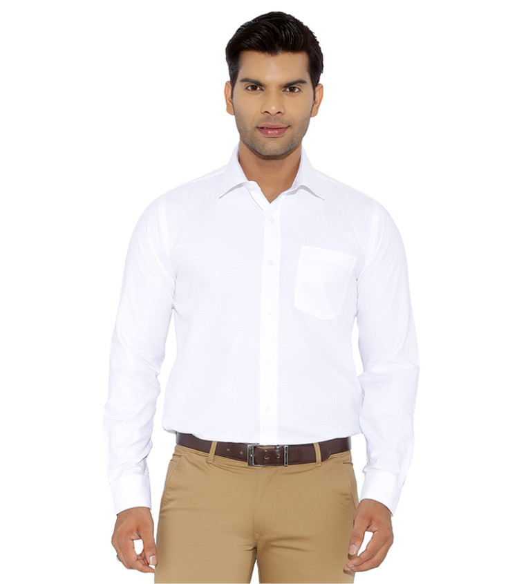 White Plain Formal Shirt with authenzaa logo