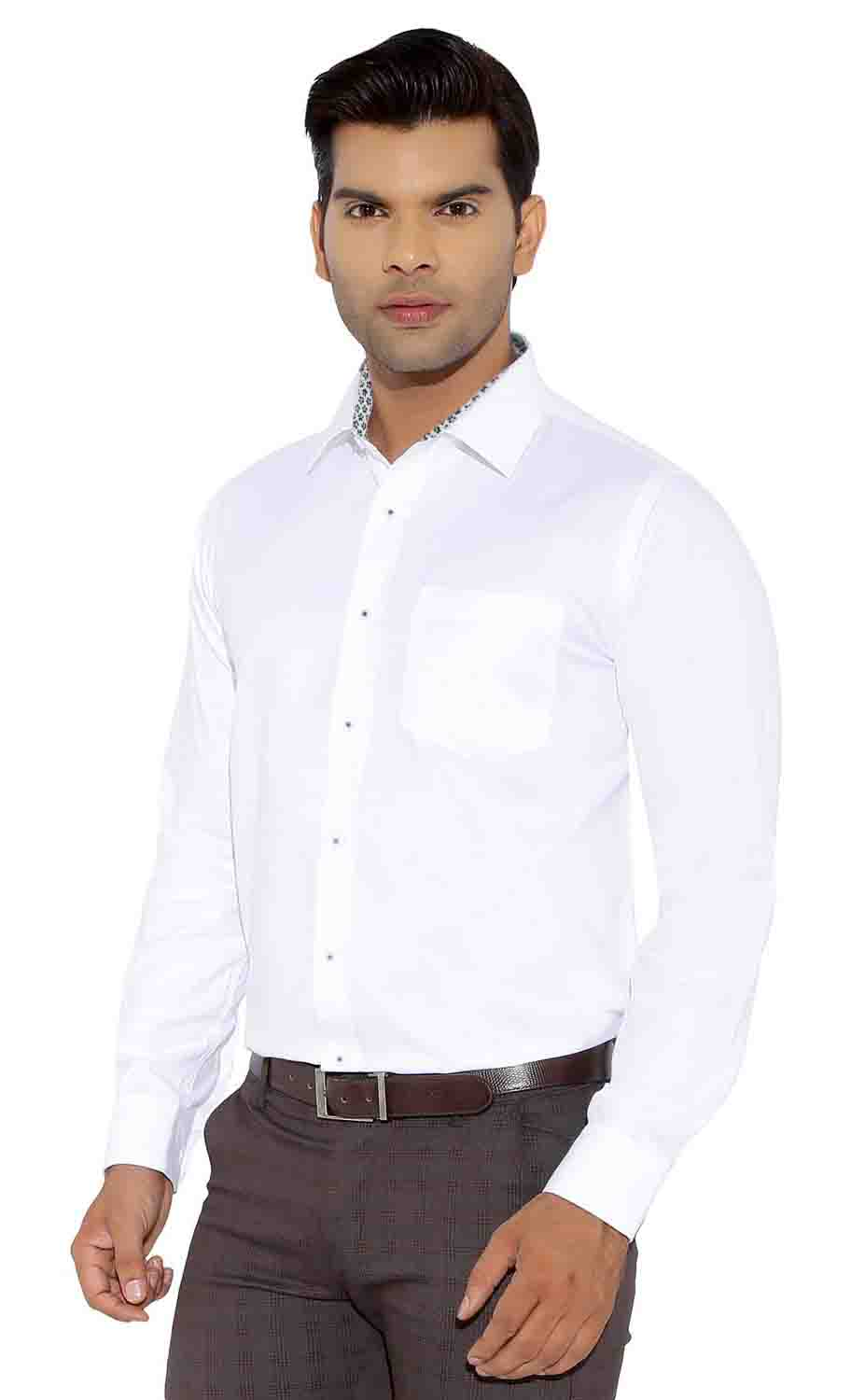 BT 1874-WHITE NAVY FLOWER FORMAL SHIRT