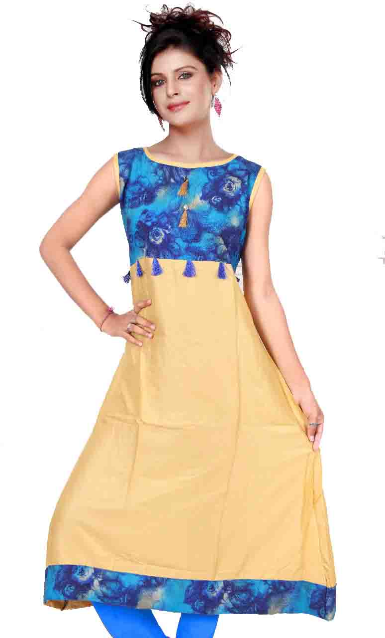 SMC AKSHARA 01-D NO 2  STYLISH SLEEVELESS RAYON KURTI