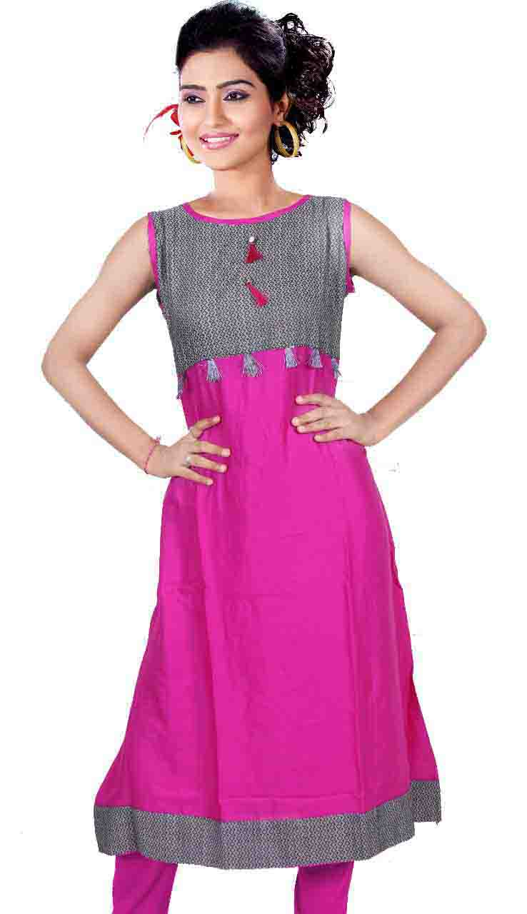 SMC AKSHARA 01-D NO 4  STYLISH SLEEVELESS RAYON KURTI