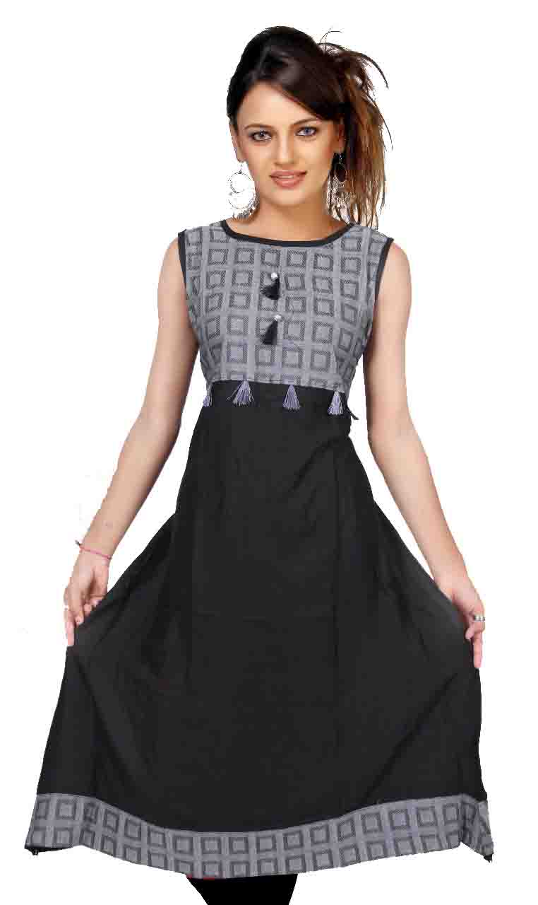 SMC D NO 325 D-BLACK STYLISH RAYON KURTI
