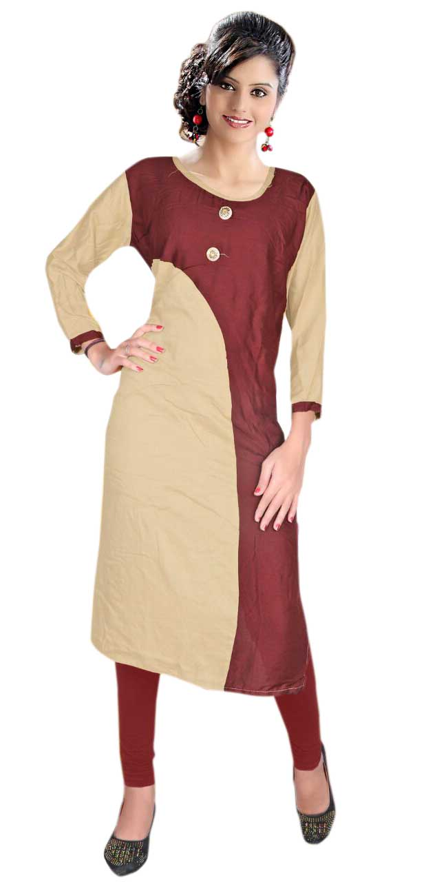 AriFash Royal-BEIGE / BROWN Stitched Cotton Kurti