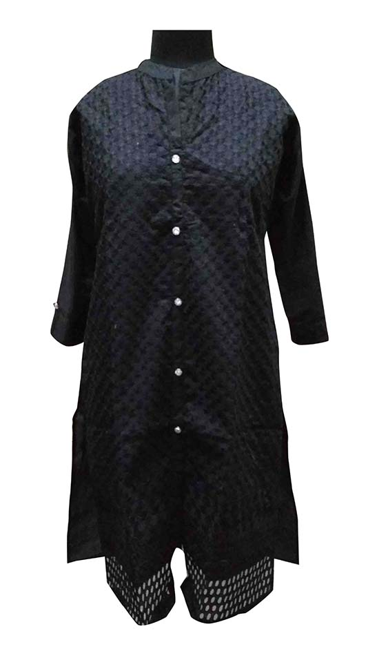 SC COLOUR CHICKEN-BLACK FULL SLEEVES COTTON LINEN KURTI
