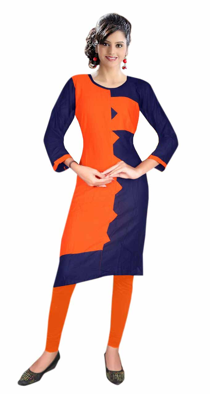 AriFash Royal-BLUE / ORANGE Stitched Cotton Kurti