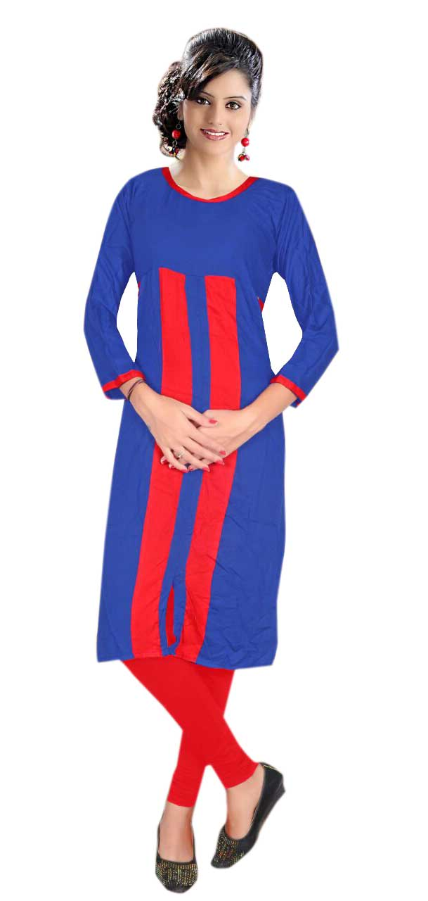 AriFash Royal-BLUE/RED Stitched Cotton Kurti