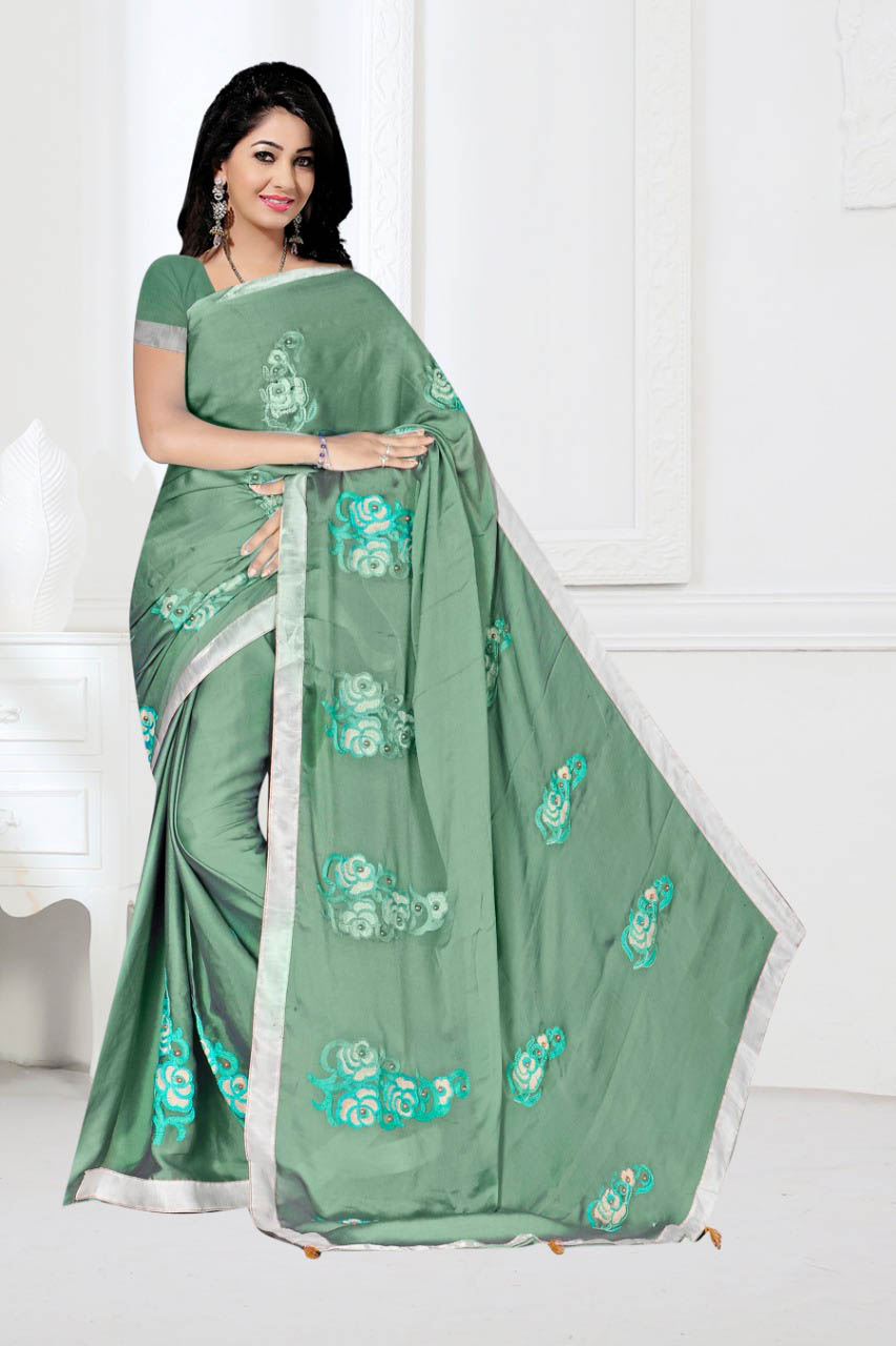 WOMEN SAREE WITH BLOUSE-PISTA-DF 1010 2019