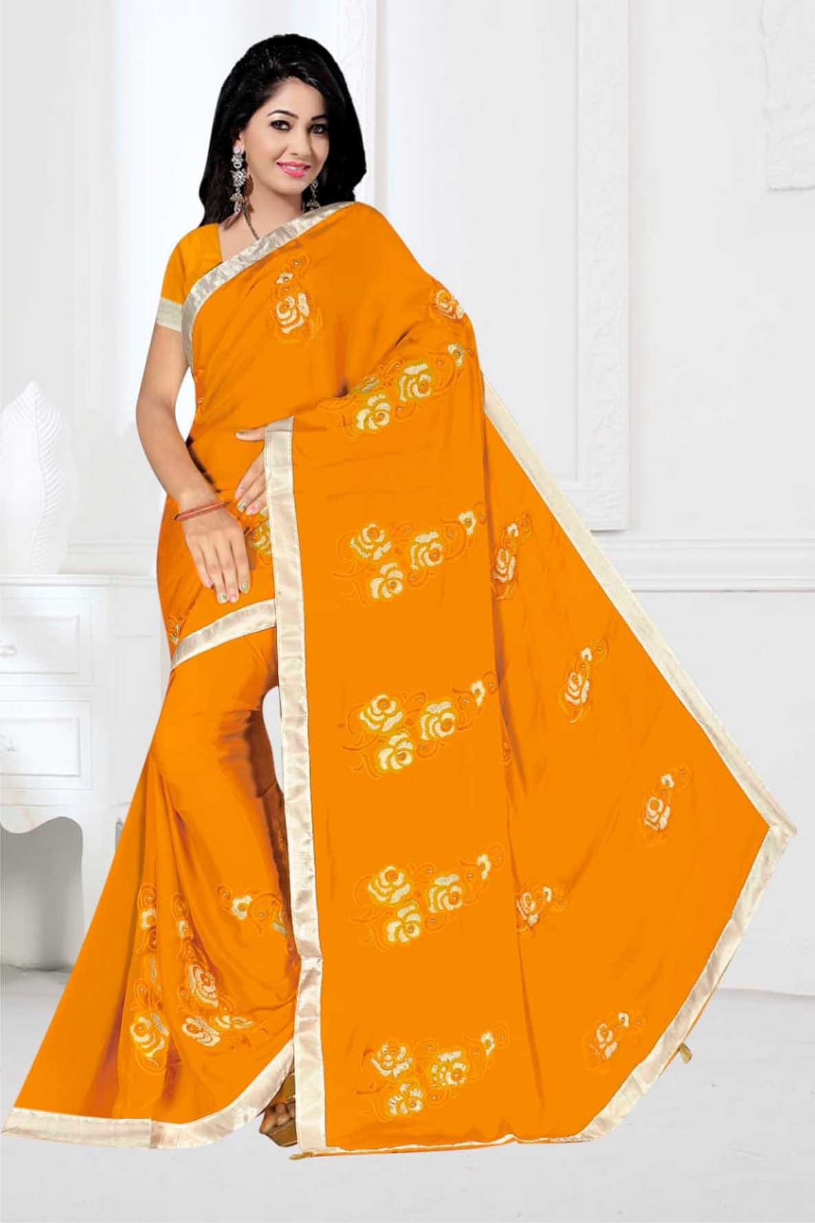 WOMEN SAREE WITH BLOUSE-YELLOW-DF 1010 2019