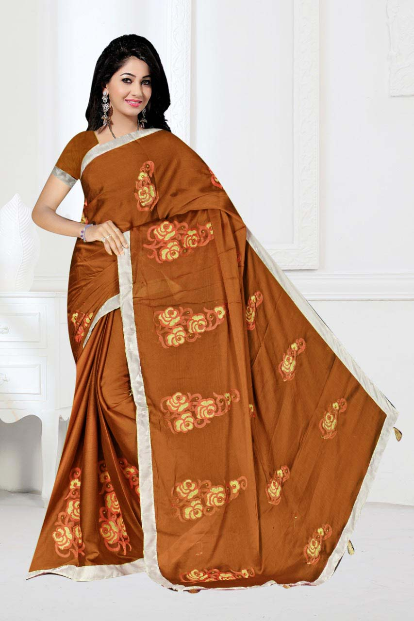 WOMEN SAREE WITH BLOUSE-COFFEE-DF 1010 2019
