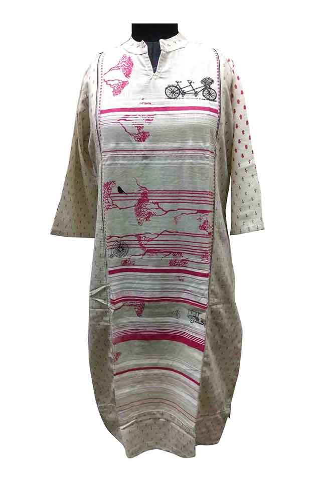 SGF D NO 1365-PINK STYLISH COTTON KURTI