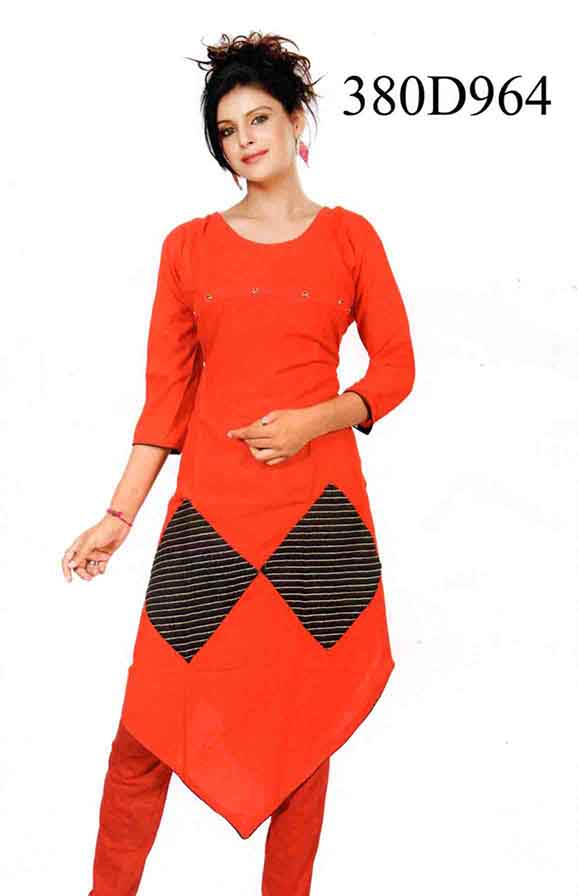 SMC DESIGN 380 D-RED STYLISH RAYON KURTI